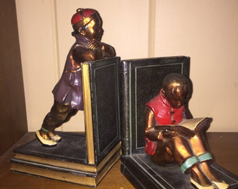 """Ronson Book Ends """"Chinese Students"""", Book Ends, Vintage Book Ends, Kids Book Ends, Old Book Ends, Metal Book Ends"""