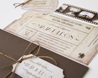Vintage Ticket Wedding Invitation Suite Cinema Film Theater