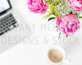 Peonies & Coffee   Styled Stock Photography