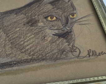 """Cat With Golden Eyes Lounging // Animal Drawing // Pet Drawing // Original // Hand Drawn //  4.5"""" x 6.5"""""""