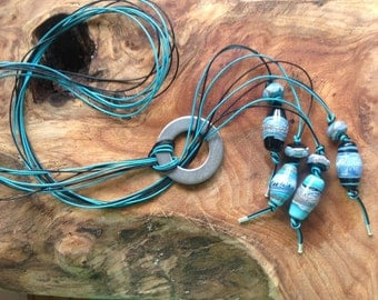 Turquoise and Black Lariat Style Necklace