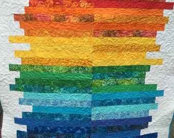 Size Made To Order Modern Rainbow Art Quilt 100% Cotton Quilt Handmade Quilt