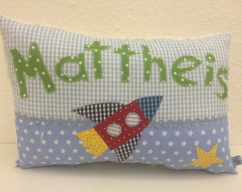 Snuggle pillows with rocket & name