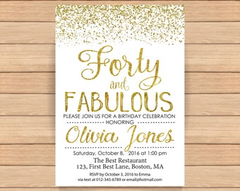 40th birthday invitation, Woman bday, Birthday Invitations, Adult birthday, Gold glitter confetti, Invitation printable ANY AGE - 1555