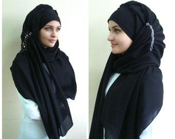 Stylish BlackTurban Hijab whith stone decoration, ready to wear hijab, Pret A Porter Hijab, beads embodered hijab, Rhinestones abaya hijab,