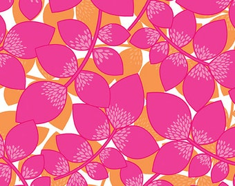 Fabric - Lily Leaves Orange/Pink, Cotton Fabric, Quilting Fabric, Fabric by the Yard, Fat Quarter, Pink Fabric, Orange Fabric, Bahama Breeze