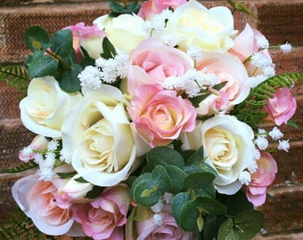 Beautiful artificial bridal bouquet pink ivory cream lilac peach