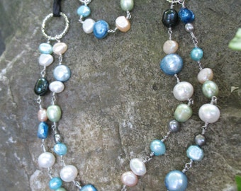 Fresh water pearl necklace & bracelet set