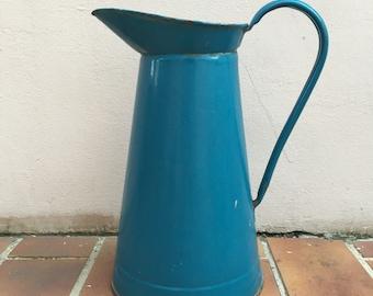 Vintage French Enamel pitcher jug light blue dark water enameled