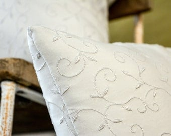 White embroidered 4 cushion set (4 Cushions)