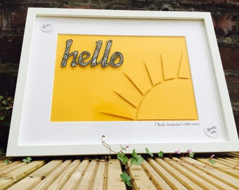 Hello Sunshine - Framed Original Pen and Ink Drawing. 30x40cms.