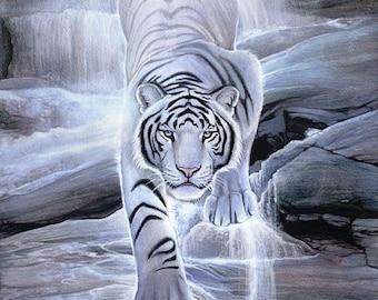Tiger Waterfall Art A4 poster gloss print laminated