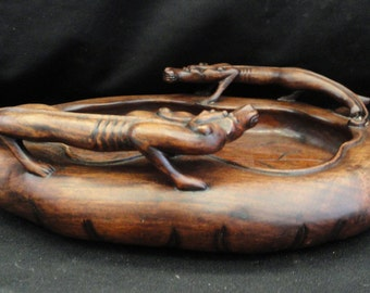 Chinese Wood Carved Twins Dragon Pot / Tray
