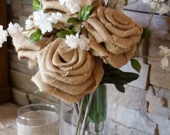 3 pc set with 6 large burlap roses