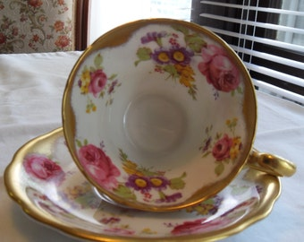 Foley English Bone China Bright Pink Roses with abundant Gold Trim.