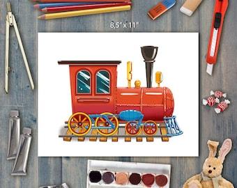 Locomotive Printable Wall Art, 8x10 Poster, Locomotive Nursery Print, Toy, Locomotive Printable, Child Room Decor, Nursery Printable