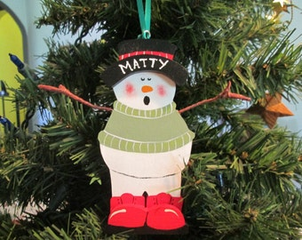 wooden snowman christmas ornament