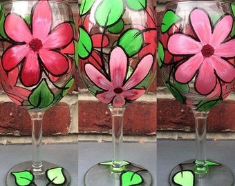 Single stemed glass pink floral