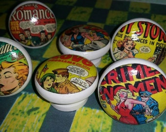 Retro Comic Couple Drawer or Cabinet knobs/pulls (Set of 6)