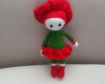 Knitted Doll Lady in Red