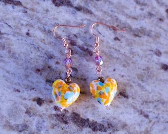Heart Wire Wrap Dangle Earrings