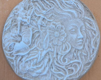 12 Inch Lightly Hand Painted Fairy Goddess Concrete Stepping Stone