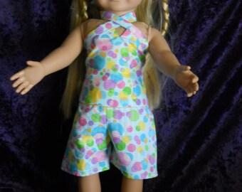 Summer shorts outfit, Blue polka Dot Halter top, Matching Shorts and Ball Cap #005