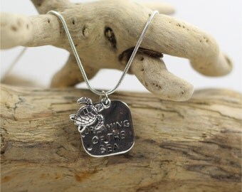 Silver Dreaming of the Sea Necklace with Turtle Charm