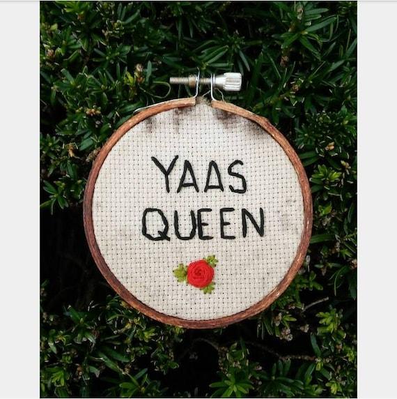 Broad city yaas queen embroidery hoop art