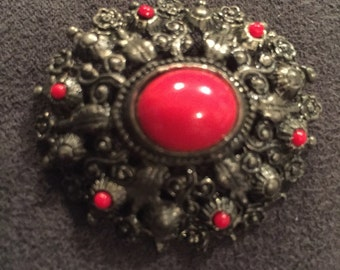 Vintage red glass and flower brooch