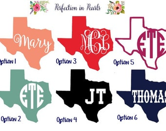 Monogrammed State Decal // Personalized Decal // Yeti or Rtic Decal // Texas Decal // Personalized State Decal // Full Name