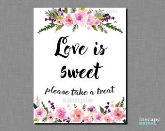 Printable Love is Sweet Take a Treat Sign, Favor Tags Table Sign, Printable Bridal Shower Favor Table Sign, Printable Bridal Shower Decor