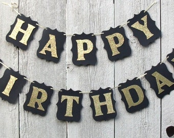 Happy Birthday banner, Birthday banner, Black and Gold birthday banner, Black and Gold party sign, Personalized birthday banner, Gold decor