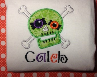 Skull and Crossbones Halloween Shirt, Personalized halloween shirt, candy eye crazy skull shirt, girl sparkle skull, boys