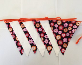Floral bunting; Handmade bunting; girls bedroom decor; party decorations; garland; fabric bunting; outdoor party decoration; high tea decor