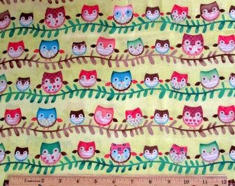 Friendly Forest Fabric Owl Yellow Fabric From SPX