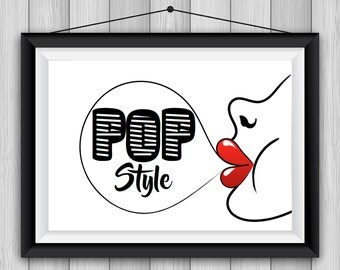 Pop Style PRINTABLE Poster 8x11 DOWNLOADABLE, Art Decor, Bubble Gum, Woman, Humor