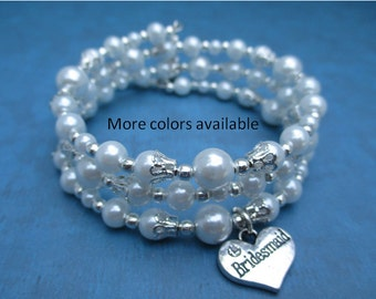 Bridesmaid Expandable Multi-Layer Pearl Charm Bracelet-Bridesmaid gift-Bridesmaid jewelry-Wedding party gift-Bridal Party gift-Wedding, B358