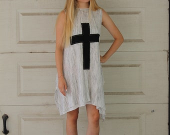 Light Summer Tunic | High Low Rustic Tunic | Round Neck | X Design | Cross Design | Sleeveless Tunic by Silvia Monetti
