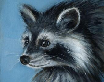 Quiet Raccoon, Oil Painting, Raccoon Art
