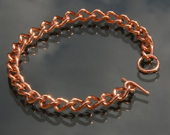 Solid Copper Ladies Chain Link Bracelet