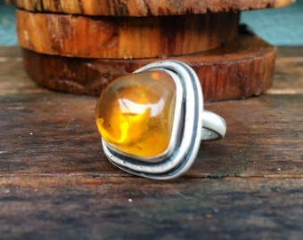 Amber stering silver ring size 6.5