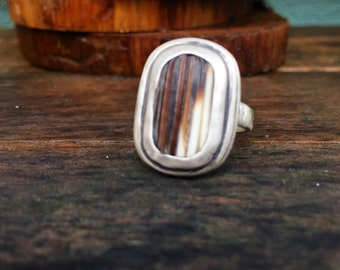 Hammered porcupine quill sterling silver oxidized ring