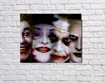 The Many Faces of the Joker A3 Canvas