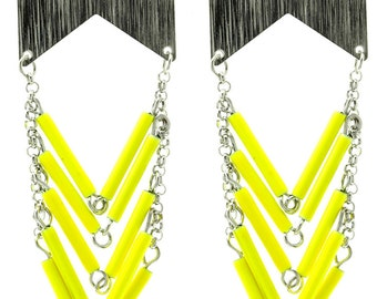 Gorgeous Canary Yellow Chevron Earrings