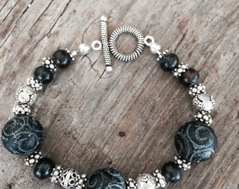 Bali Silver, Black Carved beads from Africa