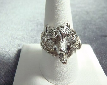 Sterling Silver Wolf Ring RP47