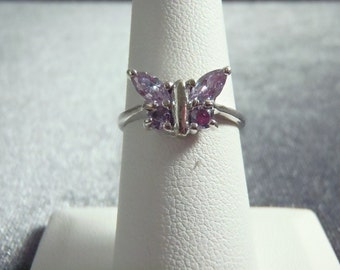 Sterling Silver Amethyst Butterfly Ring RP48