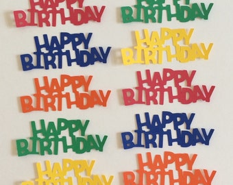 10 - 1 1/4 inch Tall Happy Birthday Die Cuts for Paper Crafts Primary Colors  Set# 5005