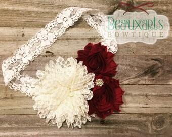 """3.5"""" Dotted Lace Chiffon/Shabby Flower Headband"""